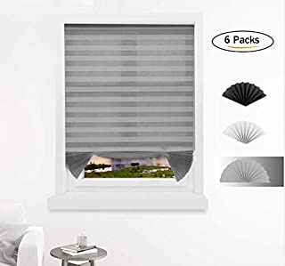 Pleated Paper 1-2-3 Shade Blind Cordless Light Filtering Fabric Shades Blinds Gray 48