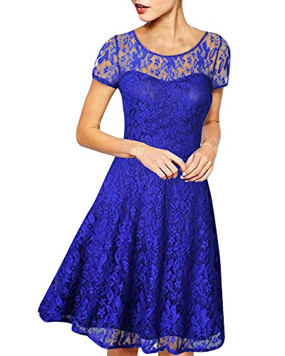 ZANZEA Damen Spitze Lace Party Cocktail Bodycon Club Kurz Abend Minikleider Blau EU 44/US 12