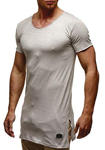 Leif Nelson Herren Sommer T-Shirt Rundhals-Ausschnitt Slim Fit Baumwolle-Anteil Moderner Männer T-Shirt Crew Neck Hoodie-Sweatshirt Kurzarm lang LN6336 Grau Large