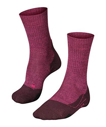 FALKE Damen Wandersocken TK2 Wool, halbhohe Kniestrümpfe zum Wandern mit Merinowolle, Socken für Outdoor Sport, Walking, Bergsteigen, 1 Paar, Rot (Burgundy 8593), Größe: 39-40