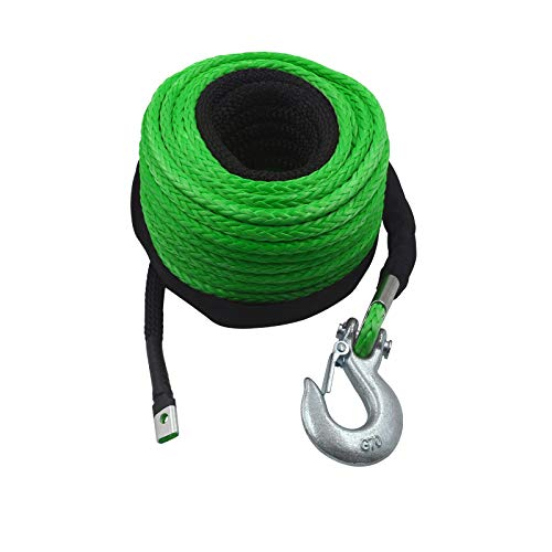 TYT Synthetic Winch Rope, 3/8' x 100 ft. 12 Strands Green & Black Winch Line Cable Rope with Premium Black Protective Sleeve Universal Fits 4WD Off Road Vehicle ATV UTV SUV Motorcycle (Light-Green)