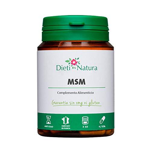 MSM 200 cápsulas de Dieti Natura. Movilidad articular [Fabricado en Francia][Garantía Sin OGM ni Gluten] (Bote de 200 cápsulas)