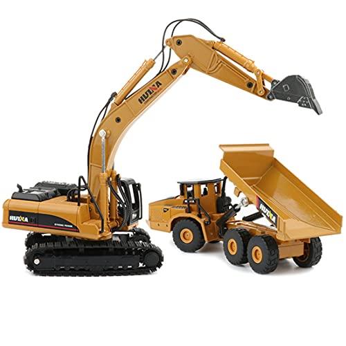 LALAmi 1:50 aluminio pesado y camioneta, miniexcavadora de camiones vehículos de construcción, modelo para excavadora y carga
