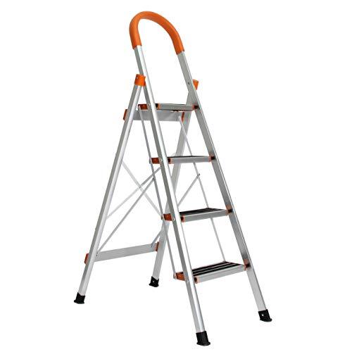 sogesfurniture Escalera de Aluminio antideslizante, Escalera plegable Robusto 4 peldaños, Multifunción Escalera...