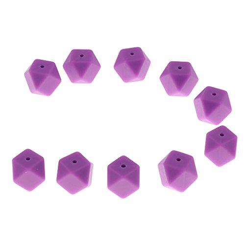 lahomia BPA-Free Silicone Beads Colgante Collar de Mordedor para Bebé Decoración de Bricolaje Seguridad - Púrpura, 2