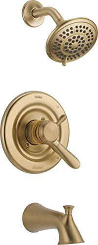 Delta Faucet Lahara 17 Series Dual-Function Tub and Shower Trim Kit with 5-Spray Touch-Clean Shower Head, Champagne Bronze T17438-CZ (Valve Not Included)