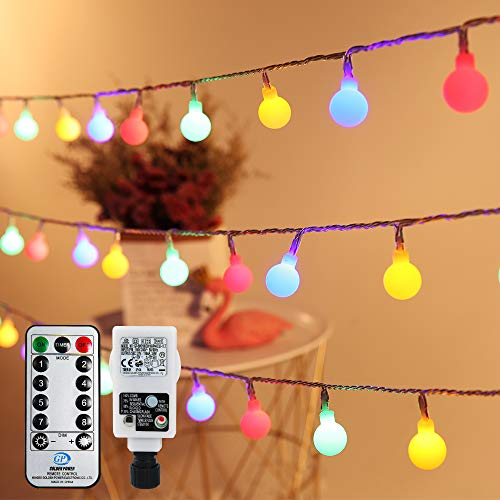 Fairy Lights Plug in, Infankey Globe String Lights Mains Powered, 10M/32FT 100 LED Outdoor Fairy Lights with Remote Control, 8 Modes & Timer, Multi-Colour, for Outdoor Indoor Christmas Wedding