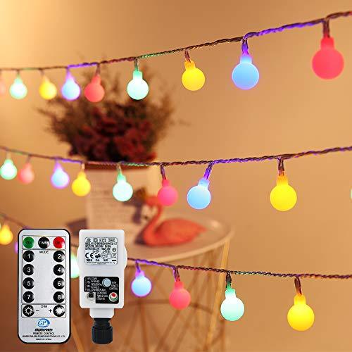 Globe Lichterkette Außen Bunt, Infankey 10M 100LED Lichterkette Kugel mit Fernbedienung, 8 Modi& Timing-Funktion, IP44 Wasserdicht, Perfekt für Garten, Partys [Energieklasse A+++]