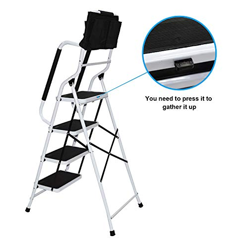 charaHOME 4 Step Ladder Step Stool 500 lb Capacity Folding Portable Ladder Steel Frame with Safety Side Handrails Non-Slip Wide Pedal Kitchen and Home Stepladder with Attachable Tool Bag