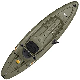 Lifetime Triton Angler 100 Fishing Kayak, Olive Green 1 Stable hull design and integrated skeg for tracking performance Multiple Footrest positions for different size paddlers - 275 lb. Weight capacity Self-bailing scupper holes to drain water from the cockpit and tankwell