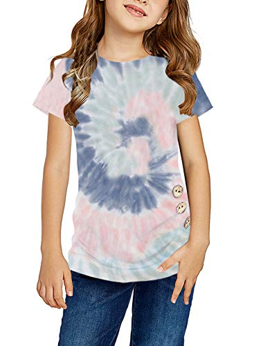 Ecokauer Girls Shirt Short Sleeve Tops Side Buttons Fashion Cute Birthday Shirt Girls' Tops, Tees & Blouses for Children Kid Fall Winter Clothing Multicolor,Size 12-13
