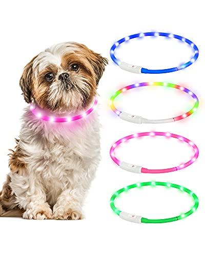 Leuchthalsband Hund,Hunde Halsbänder Wiederaufladbare USB Wasserdicht LED Leuchthalsband 4 Blinkende Lichter Längenverstellbarer Haustier Sicherheit Halsband für Hunde und Katzen (Rosa)