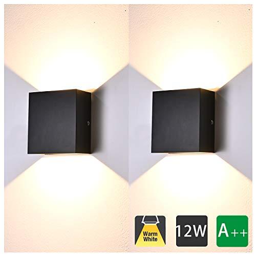 Lampada da Parete Led Interno, 2 Pezzi 12W Bianco Caldo LED Applique da Parete Moderna,Up Down Lampada a Muro in Alluminio, Perfetto per Soggiorno Corridoio Bagno (Nero)