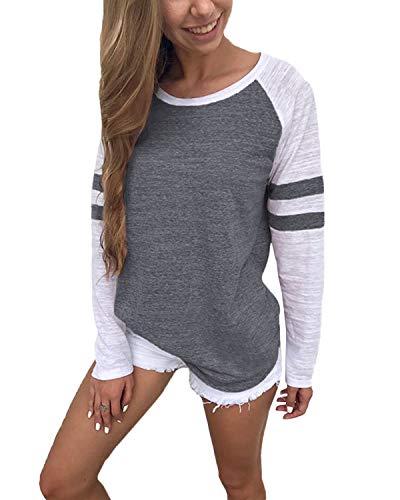 YOINS Pulli Damen Langarmshirt Sweatshirt mit Streifen Rundhals Ausschnitt Oversize Hemd, Streifen-dunkelgrau, Gr.- M/ 40-42