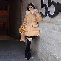 Down jacket Xllrbd甘い小さな香りは薄い豪華なフード付きジャケットダウンジャケットコットンコート (Color : Champagne, Size : XL)