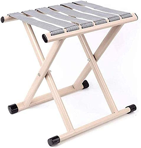 JIADUOBAO Silla plegable con poste – Plegable portátil Mini espesante exterior silla de pesca pequeña Banco (color beige)
