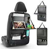EASY EAGLE Car Seat Organizer, PU Leather Car Backseat Storage Pockets with Foldable Tablet Holder, Against Dirty and Kicks, 1 Piece