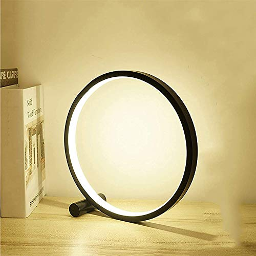 MTUPOC Lámpara Halo Balance, lámpara de Mesa LED Circular de 3 Colores Regulables, diseño Moderno y Elegante, lámpara de Lectura de cabecera recargada por USB, luz Nocturna (Black)