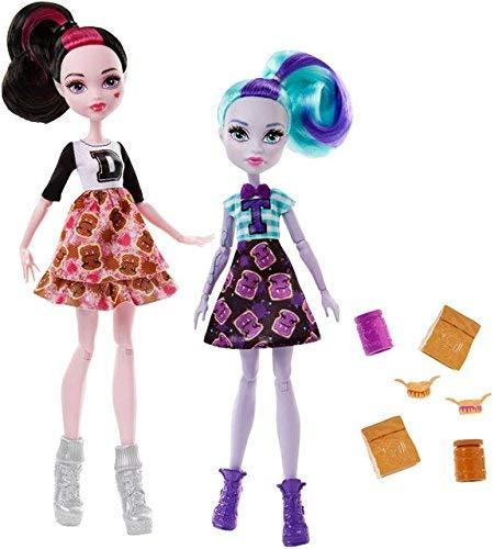 Monster High School Spirit Draculaura und Twyla Puppe, Hellblau und Schwarz, 2 Stück