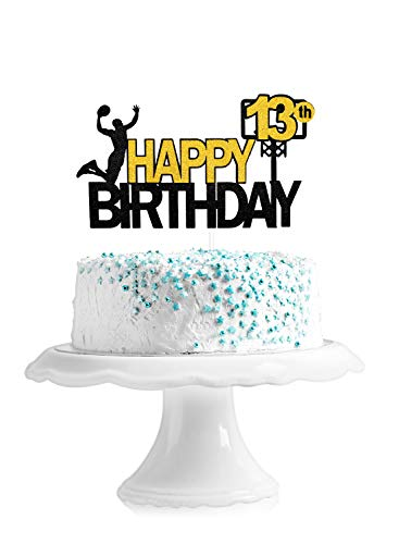 Happy 13th Birthday Basketball Cake Topper - Game Day Basketball Party Dessert Glitter Cake Supplies - Boy's Thirteen Years Old Party NBA Stars Sports Party Decoration