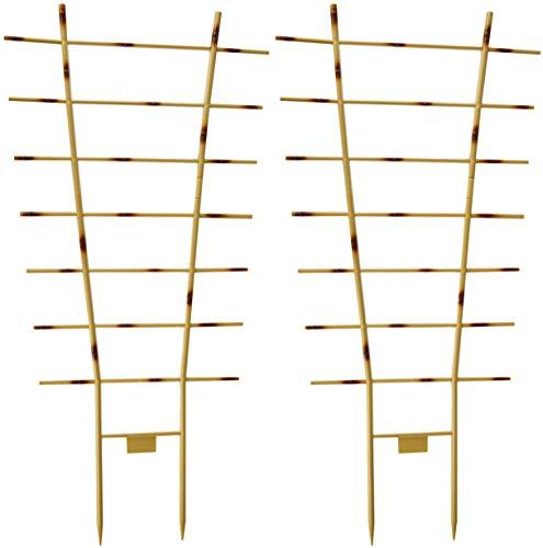 Novatool 2X Blumengitter Bambus I 77 x 36 cm I Kunststoff I Braun I Pflanzengitter Wand Rankgitter Rankhilfe Pflanzen Stütze Blumenstütze