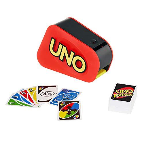 Mattel Games GXY75 - UNO Extreme Kartenspiel mit Zufallsschleuder für 2 bis 10Spieler ab 7Jahren