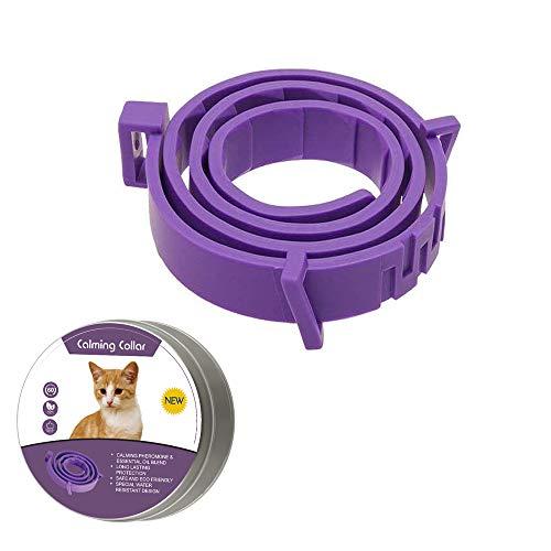 Collar calmante para perros y gatos, collar anti ansiedad con tamaño ajustable, seguro natural, resistente al agua, efecto calmante de larga duración, alivio de ansiedad de gato y perro(Pequeño)