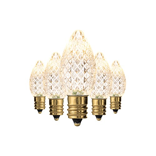 Holiday Lighting Outlet Faceted C7 Christmas Lights | Sun Warm White LED Light Bulbs Holiday Decoration | Warm Christmas Decor for Indoor & Outdoor Use | 2 SMD LEDs in Each Light Bulb | Set of 25