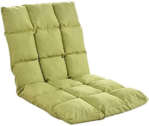 poltrone GSN Silla Plegable Piso Individual Silla Suelo 5 Engranajes Cojín de Suelo Ajustable libremente con Respaldo del sofá Perezoso extraíble y Lavable for sillas de meditación (Color : Green)
