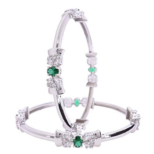 Ratnavali Jewels CZ Zirkonia Silber Ton Grün Weiß Oval Indische Bollywood Hochzeit Armreifen Kada Schmuck Frauen Braut
