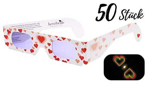 Herzbrille Liebesrausch (50 Stück) - Herzchen sehen in jedem Licht: Ideal für Hochzeit & Party