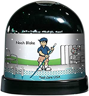 PrintedPerfection.com Personalized NTT Cartoon Caricature Snow Globe Gift: Pool Cleaner Male