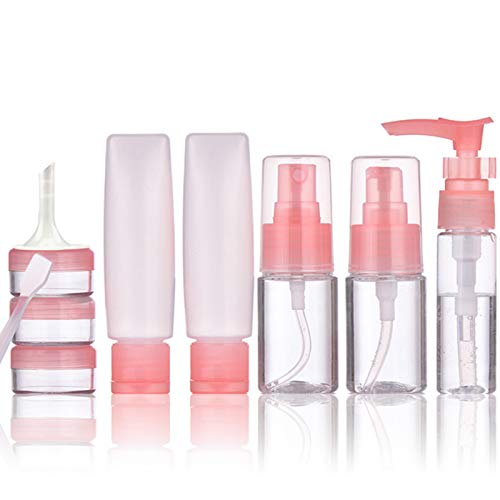 Travel Size Toiletries Containers 10 Pack Travel Bottles Set Cosmetic Makeup Liquids Travel Container TSA Approved Leak Proof BPA Free Refillable Plastic Clear Empty Pink