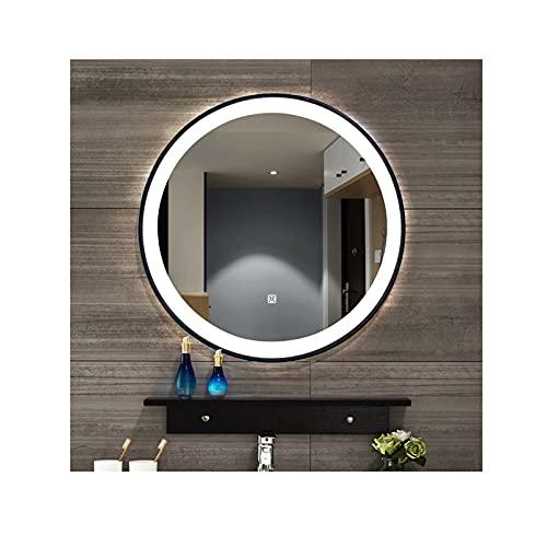 zyy Espejo de Baño de 600 x 600 mm Espejo de Baño Iluminado por LED Pantalla Táctil Espejo de Pared Luz Cálida/Luz Blanca Conmutable con Estantes (Size : 50cm/19.6inch)