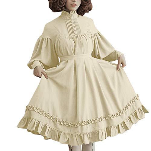 LOPILY Kleider Damen Vintage Lolita Kostüme Kleid Damen mit Trompetenärmel 46 44 42 Rüschen Prinzessin Midikleid mit Knopfen Halloween Kostüme Damen Karneval Faschingskostüm Mädchen (Beige, 40)