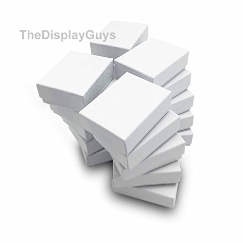 TheDisplayGuys 25-Pack #11 Cotton Filled Cardboard Paper Jewelry Box Gift Case - Swirl White (2 1/8 x 1 6/8 x 3/4)