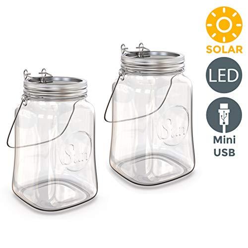 B.K.Licht I 2er Set LED Solar Glasleuchte | Akkubetrieben über Solarpanel | Magnetschalter I Sonnenlicht mit Dämmerungssensor I Solarglas I Solarlaterne I Dekolicht