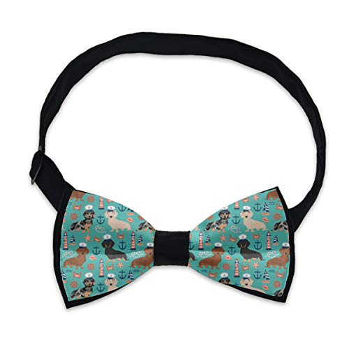 Formal Pre-Tied Bow Tie - Dachshund Sailors Nautical Dog Pattern - Party Birthday Gift Tuxedo Neck Band Cravat, Adjustable Length Classic Bow Ties