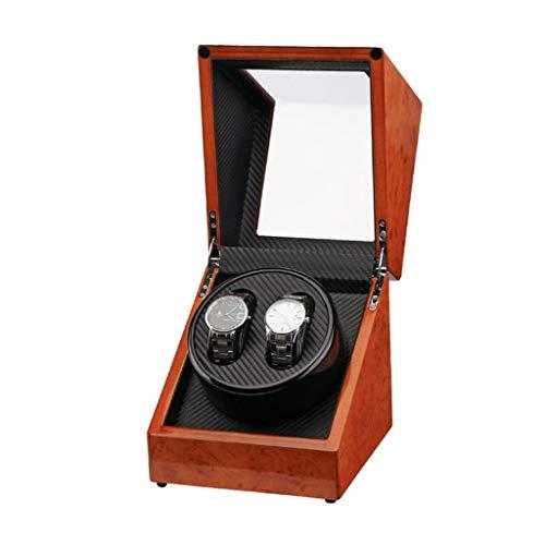 BWCGA Caja de Reloj, con el Super silencioso del Motor, 4 Ajuste Modo de rotación, Watch Winder Cajas de Madera Doble automáticos de Almacenamiento for 2 Relojes