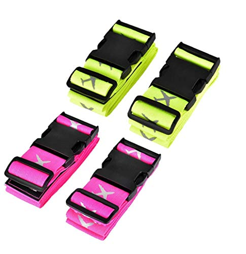 4-Stück Large Kofferband Koffergurte Blau Koffer Identifikation -Green&Pink