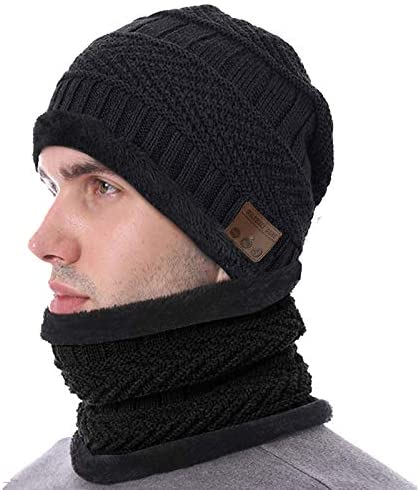 Wireless Music Beanie Hat with Scarf Over Ear Stereo Headset Headphone with Mic Warm Knit Thick product image