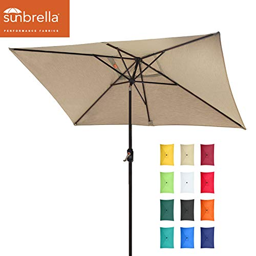 EliteShade Sunbrella 10x6.5 Ft Rectangular Market Umbrella Patio Outdoor Table Umbrella with Ventilation and 5 Years Non-Fading Top,Heather Beige