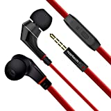 Naztech NX80 Stereo 3.5mm High Fidelity Sound Earphones. Tangle-Free Cable, in-line Noise-isolating Microphone & Control Button to Switch Between Music & Calls (Red/Black)