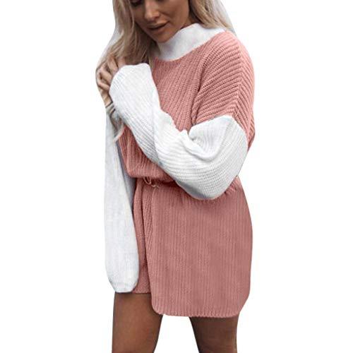 Briskorry Damen Farbblock-DesignSweatershirt Langarmshirts Elegant Rollkragen Strickpullover Bluse Herbst Oberteil Tunika Tops