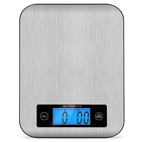 Digital Kitchen Scale Food Scales, TOBOX Postage Scale Multifunction Stainless Steel Accuracy with LCD Display and Tare Function for Baking and Cooking 22 lb 10 kg