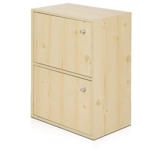 QAZ Twee verdiepingen kleine kast opbergkast met deur eenvoudige moderne gratis combinatie eenvoudige houten opbergrek 40 * 24 * 54cm