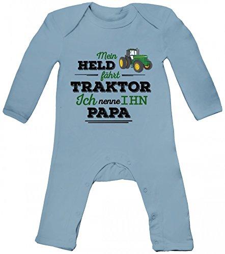 Vatertag Landwirt Trecker Baby Strampler Langarm Schlafanzug Jungen Mädchen Papa - Mein Held fährt Traktor, Größe: 12-18 Monate,Dusty Blue