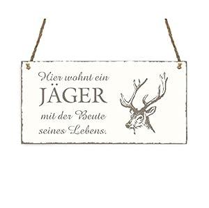TÜRSCHILD « Hier wohnt ein JÄGER mit der Beute seines Lebens » Hirsch Vintage Dekoschild Holzschild Schild Jagd Jagen