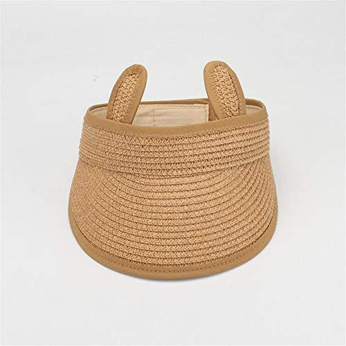 SFBBBO Sombrero Sombrero de Paja para niños, Verano para niña, niño, Visera, Tapa vacía, Sombrero para el Sol, Gorra de Playa, 48-52c, Caqui Ajustable