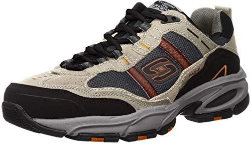 Skechers Sport Men's Vigor 2.0 Trait Memory Foam Sneaker, Taupe/Black, 7 M US